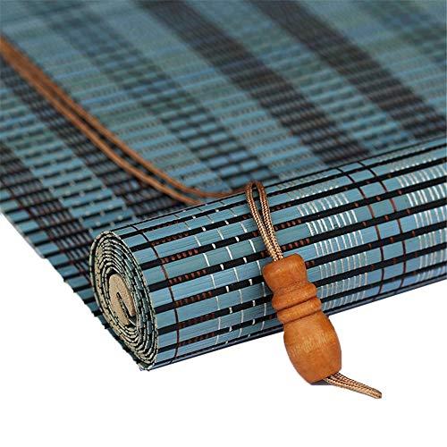 Bambus Jalousien, Fensterrollo, Rollo Vorhang - Sichtschutz Jalousien - 70/80/90/110/120/130 / 140cm Breite - Blau (Color : Flat, Size : 110x190cm)
