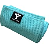Sticky Grip Yoga Towel - Best Non-Slip Towel for Hot Yoga - Anti-Slipping, Sweat Absorbent Microfiber Towels with Silicone Grip Bottom for Standard & XL Sized Mats (Teal)