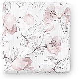 Manta de muselina para bebé Aenne Baby, Amapola rosa floral, Grande 120 x 120 cm, 1 pack, de bambú sedoso lujoso y suave, regalo para bebé recién nacida