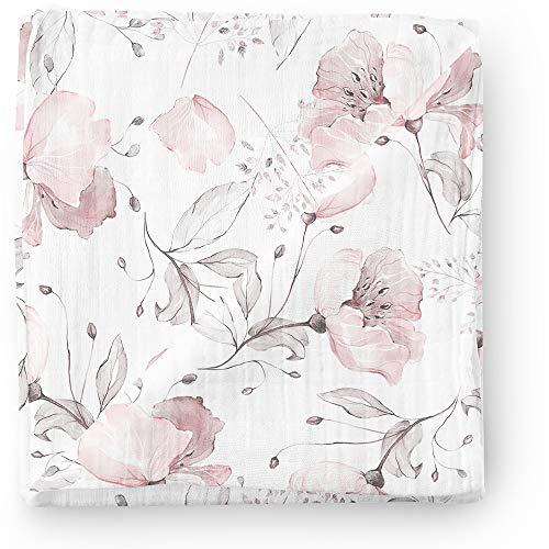 Aenne Baby Musselin Baby Pucksack Pucktuch Puckdecke Mohnblumen Dimensionen 120 x 120 cm, 1 Stück, luxuriöse weiche und seidige Bambus, Babyduschengeschenke