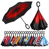 [Amazonブランド] Eono(イオーノ) ダブル レイヤー 反転 傘 リバース 折り 傘 セルフ スタンディング 防風 UV 保護 トラベル 傘 車 雨 と アウトドア用 C シェイプ ハンドル ズ レッド フラワー
