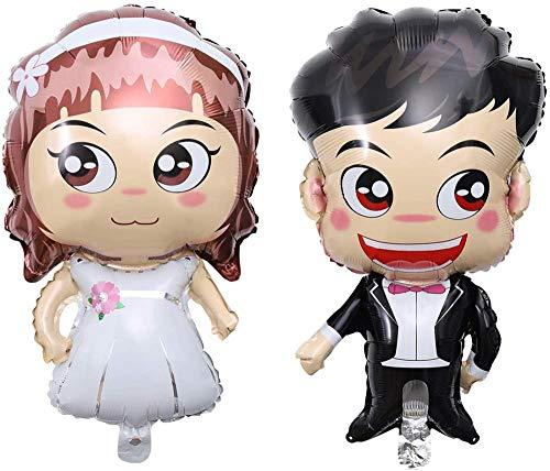 ANGEELEE Folienballons Hochzeits Luftballons Karikatur Braut und Bräutigam Ballon für Hochzeits Geschenk Foto Requisiten-Z-13
