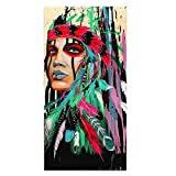 Native American Indian Girl Wall Art Canvas Painting Women Chief with Colorful Feathers Ethnologic Accessories Póster Moderno Imagen Verical Artwork Home Decor para salón, 28x56 Inch Feathers Girl-4