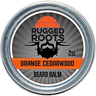Beard Balm for Men by Rugged Roots - Hair Nourishing Beard Wax with Orange Cedarwood Scent for Healthy Shiny Beards - Encourage Strong Beard Growth and Strengthen Hair - Beard Wax for Men