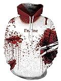Ainuno Mens Womens Halloween Hoodies Halloween Sweatshirt Funny Printed,Im fine Bloody S/M