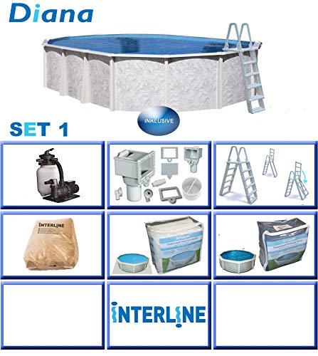 Interline 50000047 Diana Auf- und Erdeinbau POOLSET 1 Stahlwandpool 6,10m x 3,60m x 1,32m mit Sandfilter Set 6,0m³/h