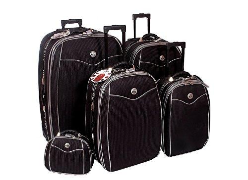 5 teiliges Kofferset Brilliant mit Dehnfalte & Beauty Case - schwarz