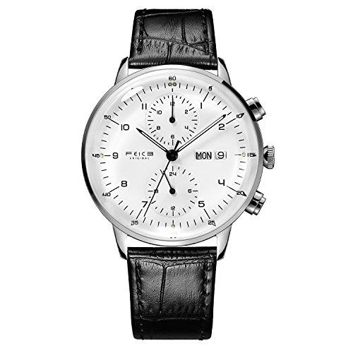 Reloj Automático FEICE Reloj Bauhaus 2.5D Cristal Curvo Reloj Mecánico con Calendario Semana