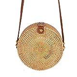 Miyanuby Damen Umhängetasche Rattan Handgemachte Vintage Tasche Handtaschen für Frauen Travel Strandtasche Sommer Umhängetasche - 5