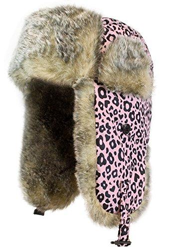 Winter Tschapka Mütze Schapka Pilotenmütze Trappermütze Leopardenoptik alle Farben, wählen:Leopard rosa 07