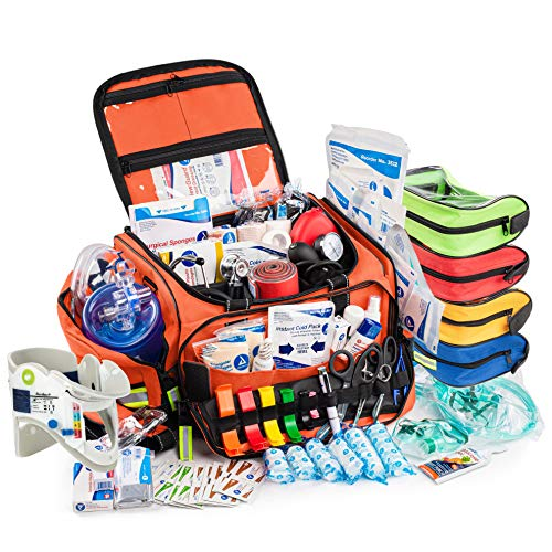 Scherber First Responder Bag   Fully-Stocked Professional Advanced EMT/EMS Trauma Kit   Reflective Bag w/10+ Compartments, Zippered Pockets, Shoulder Strap & 250+ First Aid Supplies - Orange