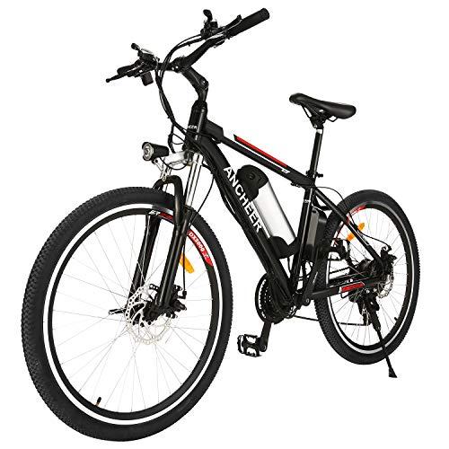 ANCHEER Bicicletta Elettrica 250W Ebike 26'' Elettrica MTB, Mountain Bike Elettrica Adulto 25KM/H Con Batteria Rimovibile 8/12.5Ah, 21 Velocità