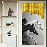 Tres Galope Blanco y Negro Moderno Lienzo Pintura Pared Pintura Cartel Lienzo Pintura decoración del hogar Oficina,Pintura sin Marco,45x90cm