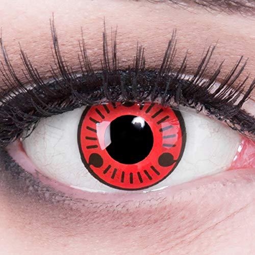 Farbige Funnylens Anime Sharingan Kontaktlinsen Sasuke Naruto Kostüm in rot schwarz perfekt zu Manga, Cosplay, Halloween mit gratis Kontaktlinsenbehälter rote 12 Monatslinsen ohne Stärke farbig