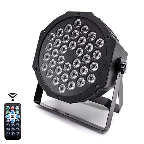 U'King 36 LED RGB Scheinwerfer Par Strahler, Discolicht, DJ Strobe Light, Bühnenbeleuchtung mit drahtlosem Remote