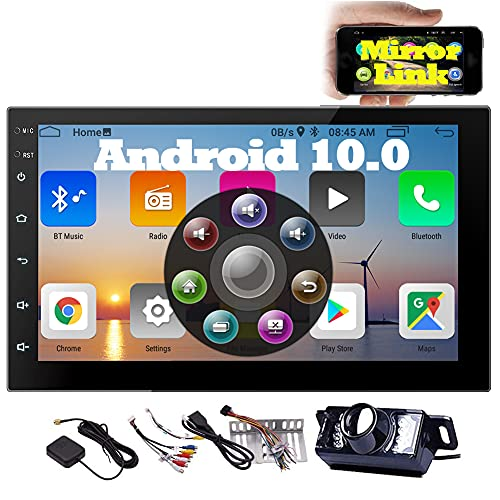 EINCAR Android 10.0 Car Stereo Double Din Radio with Backup Camera in Dash Navigation Bluetooth Radio Receiver 7 Inch 2 Din Head Unit Support GPS WiFi Mirror Link USB FM 1080P Video SWC