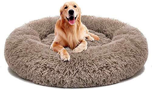 SNFHL Funda Extraíble Soft Dog Bed, Cojín Extra Grande de Piel Artificial para Perros, Almohada para Sofá Cama para Mascotas,XXL-Brown