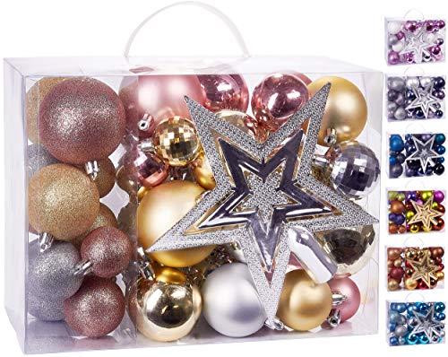 Brubaker 50-teiliges Set Weihnachtskugeln mit Baumspitze - Christbaumschmuck aus Kunststoff in Rosa, Champagne und Silber
