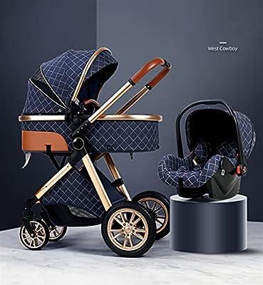 HZPXSB Cochecito de bebé High Landscape 3 en 1 Baby Carriage Luxury Baby SHITCHAIR Baby Cradel Carrier Infantil Kinderwagen Baby Car (Color : Blue)