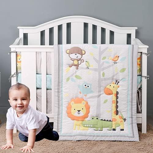 USTIDE 7-Piece Nursery Cot Bedding Set with Bumpers Animals Baby Boy Crib...