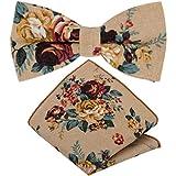 GASSANI - Tumbona para hombre, 2 piezas, diseño de flores vintage beige, marrón claro, rojo, naranja, verde, blanco. 12 cm x 6 cm
