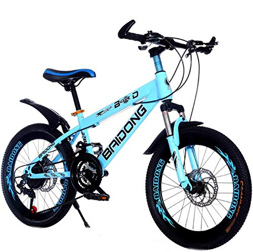 Adultos De 21 Velocidades De Bicicletas De Montaña, Junior Velocidad Variable Bicicleta, Frenos De Disco Doble, Deportes Al Aire Libre, Regalos (Color : Blue, Size : 20 Inch)