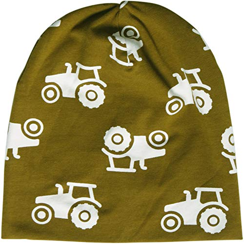 Fred'S World By Green Cotton Tractor Beanie Bonnet, Vert (Dark Olive 018083206), 68/74 Bébé garçon