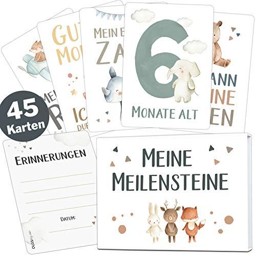 45 Baby Meilensteinkarten Lino für Junge und Mädchen Meilenstein Karten Set + Geschenkbox schöne Geschenkidee zur Geburt, Taufe oder Babyparty (Tiere, weiß, Deutsch)