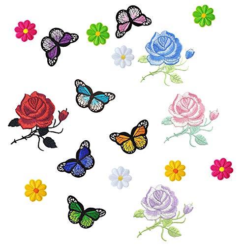 Miystn Pegatinas para Ropa con Plancha, Parches Bordados Pequeños, Parches para Ropa Termoadhesivos para Ropa DIY Costura (18 Piezas, Flores y Mariposas)