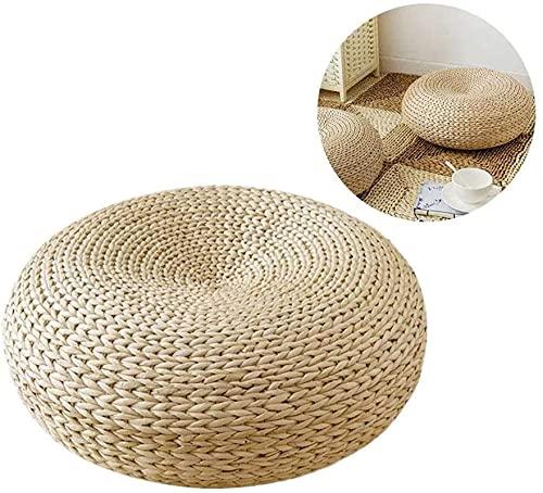 Cuscino di paglia cuscino a mano cuscino a mano in rattan futon rotondo telaio paglia tatami yoga cuscino meditazione meditazione pavimento cuscino sedile naturale per patio domestico balcone giardino