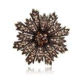 ZSCRL Broche de Broche Floral con Diamantes Simples, Hebilla de Chal de Moda, Temperamento Salvaje Femenino, Taladro de café de Oro Antiguo de 4.4 * 4.4 cm