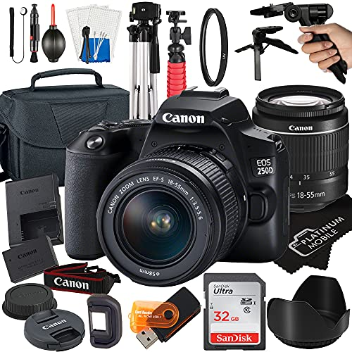 Canon EOS 250D   Rebel SL3 Digital SLR Camera 24.1MP CMOS Sensor with EF-S 18-55mm Zoom Lens + SanDisk 32GB Card + Tripod + Case + MegaAccessory Bundle (21pc Bundle)