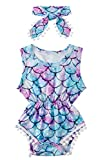 Newborn Girls Mermaid Jumpsuits 3D Printed Colorful Fish Scale Onesie for Babys Summer Sleeveless Pom Pom Lace One Piece Playsuits with Headband Boys Casual Party Wear Outfits, 0-3 Months