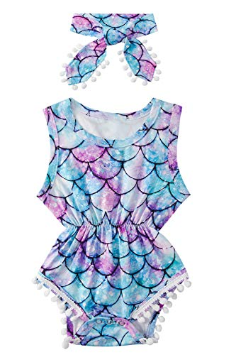 Toddler Girls Fish Scale Playsuits for Baby Funny Colorful Mermaid Graphics Jumpsuits 1 Years Old Summer Breathable Sleeveless Rompers Kids Soft Comfy Round Neck Slim Fit Onesie, 12-18 Months