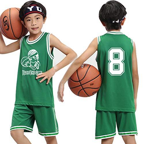Jungen-Basketballtrikots Oberteil und Shorts 2-teiliges Set, bestickte Basketballwesten Athletentraining Atmungsaktives schnelltrocknendes T-Shirt Weitere Informationen-Green-XXXS