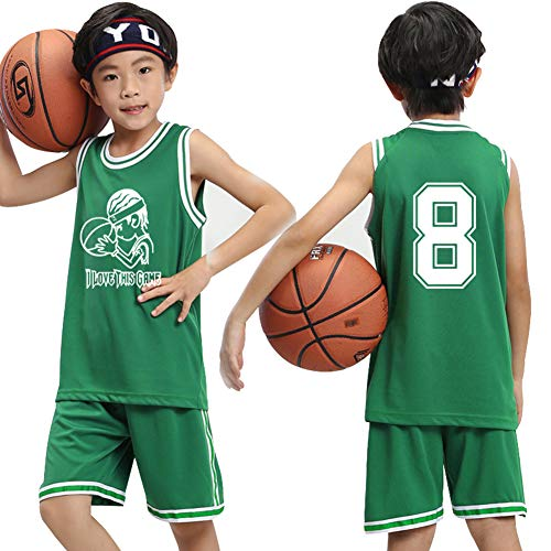 Jungen-Basketballtrikots Oberteil und Shorts 2-teiliges Set, bestickte Basketballwesten Athletentraining Atmungsaktives schnelltrocknendes T-Shirt Weitere Informationen-Green-XXXS