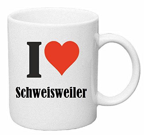 Reifen-Markt Kaffeetasse I Love Schweisweiler Keramik Höhe 9,5cm ⌀ 8cm in Weiß