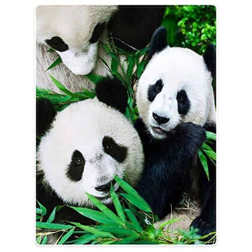 YISUMEI Decke 150x200 cm Kuscheldecken Sanft Flanell Weich Fleecedecke Tagesdecke Panda Familie die Bambus isst