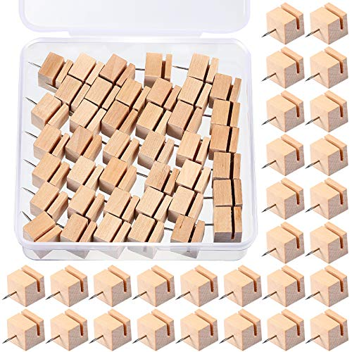 50 Pieces Slot Wood Push Pins Holder Square Wooden Thumb Tacks Bulletin Boards Decorative Push Pin with Steel Needle Point for Documents, Photos, Maps