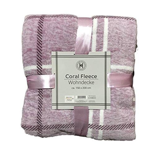 Home Edition knuffelzachte Karo fleece woondeken wollen deken knuffeldeken lekker warm 150x200 cm in roze