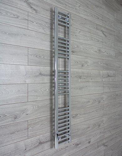 Badkamerradiator badkamerradiator 200 mm breed verchroomd met platte staven voor een trendy bad Traditioneel 200 x 1600 mm
