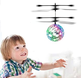 WEKITY Flying Ball Toys, Infrared Induction RC Drone Helicopter Ball Built-in LED Light Disco Rechargeable Light Up Ball Drone Colorful Flying Toy for Indoor Outdoor Games Gifts for Kids (Flying Ball)