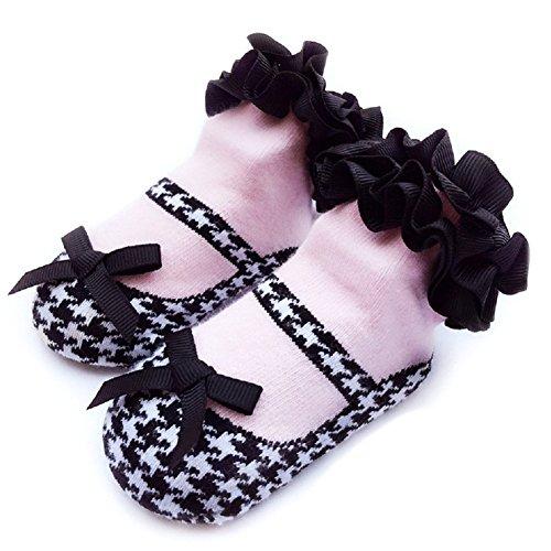 Comcrib Chaussettes pour bébés Chaussettes en Coton Booties Chaussettes avec Dentelle et Bowknot pour 0-12 mois Bébés
