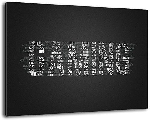 Gaming Schriftzug Format:60x40 cm Bild auf Leinwand bespannt, riesige XXL Bilder komplett und fertig gerahmt mit Keilrahmen, Kunstdruck auf Wand Bild mit Rahmen, günstiger als Gemälde oder Bild, kein Poster oder Plakat