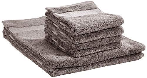 AmazonBasics, Everyday - 2 teli bagno e 4 asciugamani per il viso per uso quotidiano, Grigio polvere