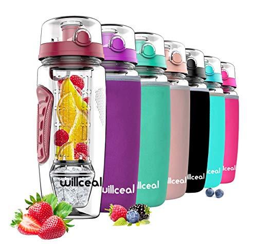 willceal Wasserflasche Mit Fruchteinsatz 945 ml Durable mit abnehmbarem Eisgel-Ball, groß - BPA-freies Tritan, Flip-Deckel, dichtes Design - Sport, Camping (Tiefrot)