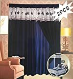 Texas Cowboys Western Star Design Quilt Bedspread Comforter Navy Blue -- 6 Piece Set (Matching Curtain)