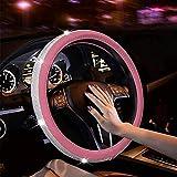 YYZYY Funda para volante de piel con diamantes de imitación, ajuste universal de 15 pulgadas antideslizante para mujeres y niñas (rosa)