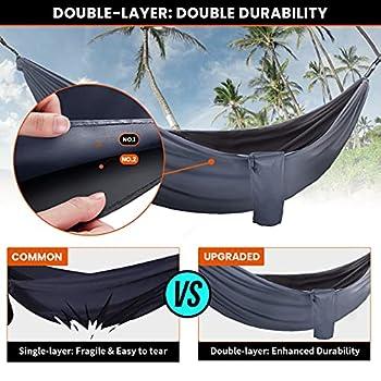 OVERMONT Hamac Jardin Exterieur Voyage Ultra-léger Double Couche Durable en Parachute Nylon Max Payload 400KG Hamac de Camping Randonnée Trekking (Hammock-BDG-270x140)