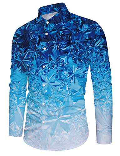 Fanient Hemden für Männer Regular Fit Freizeithemd 3D Druck Fledermaus Grafik Button Down Hemden Langarmshirts XXL